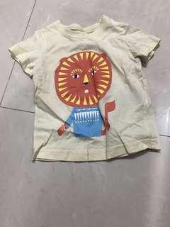 🈹💥🈹💥日本品牌 ne net 絕版 黃色太陽圖案 小童上衣 top