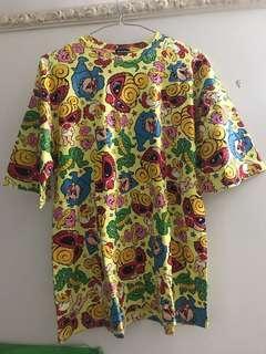 🈹💥Hystericmini MINI 經典 mini DOLL DOT総柄 ビッグシルエット中袖Tシャツ size 140 top 黃色長身tee op HG