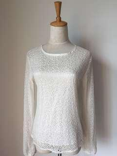 White Lace Top with Lining