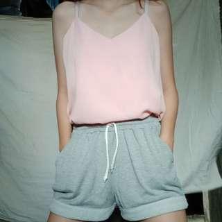 Pink Halter Top & Gray Sweat Shorts