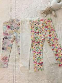 H&M girls leggings 3 pieces (1.5-2yo)