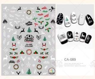 美甲貼花防水持久指甲貼纸 聖誕節 Merry Christmas Nail Sticker