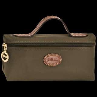 Longchamp le pilage mini cosmetic khaki bag