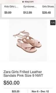 Authentic Zara Frilled Leather Sandals