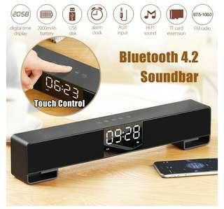 Brand New Wireless 4.2 Bluetooth Soundbar For TV, FM Radio, Digital Alarm Clock