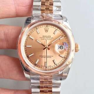 Rolex Datejust 36 Rose Gold Dial Swiss Engine 3135