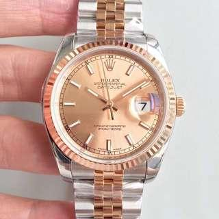 Rolex Datejust 36 Rose Gold Fluted Dial Swiss Engine 3135