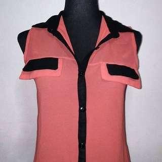 Orange and Black Sleeveless Chiffon Top