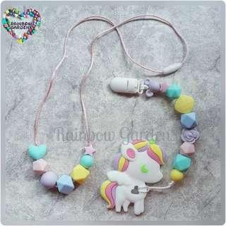 Handmade Teething beads necklace & Pacifier Clip + Pastel Unicorn teether