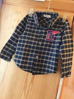 🚚 男童童裝深藍色格子時尚造型百搭長袖襯衫外套