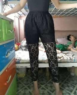 Black lace HW skinny pants