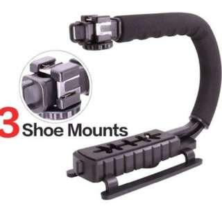 Triple Hot-Shoe Mounts Video Action Stabilizing Handle Grip Handheld Stabilizer with Hot-Shoe Mount for DSLR Camera Camcorder DV