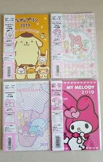 From Japan: 2019 My Melody, Little Twin Stars, Pompompurin Diary / Planner