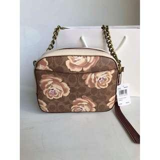 Authentic Coach Signature Rose Print Camera Bag F31695 - Chalk