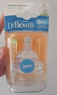 Dr Brown's wide neck teats level 2