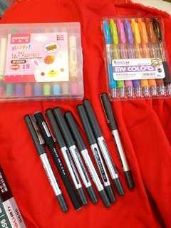 彩色中性筆 彩色蠟筆 黑色走珠筆 合共34支