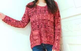 顯瘦😍粉黑針織桃紅色單口袋顯瘦毛衣