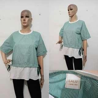 Blouse bangkok like new size M to L ( blouse cantik / atasan keren / blouse import / blouse garis / blouse hijau )