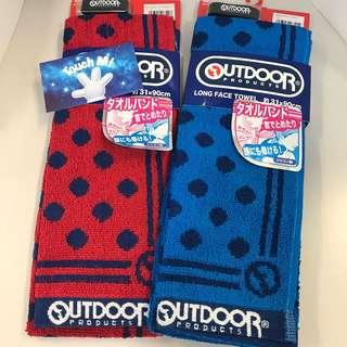 《日本直送》Outdoor 毛巾 雙面 長毛巾 波點 純綿 吸水 吸汗 附送手帶 運動 游水 行山 跑步 towel