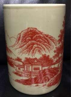 豆青釉矾紅彩山水詩文圖筆筒