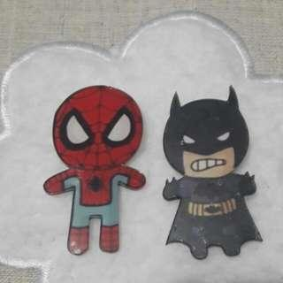 Batman and Spiderman Acrylic Pins