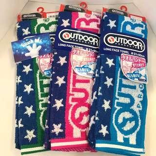 《日本直送》Outdoor 毛巾 雙面 長毛巾 星星款 100% 純綿 吸水 吸汗 附送手帶 運動 行山 跑步 towel