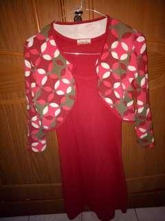 Dress merah + outer #mauthr