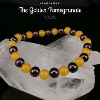 🚚 The Golden Pomegranate Yellow Aventurine & Garnet Crystal Bracelet (6mm Bead) -Garnet helps to detoxify blood & regulate blood circulation. It is an excellent stone to cleanse & balance root Chakra.