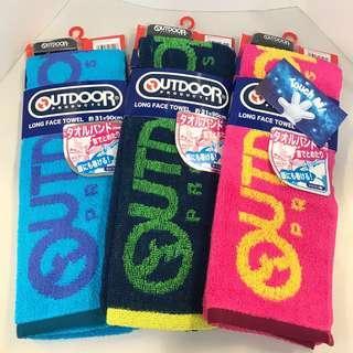 《日本直送》Outdoor 毛巾 雙面 長毛巾 凈色款 100% 純綿 吸水 吸汗 附送手帶 運動 游水 跑步