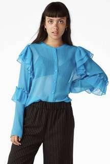Monki triple ruffles sleeve top