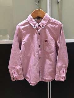 Preloved burberry dark red shirt size 3-4 Y
