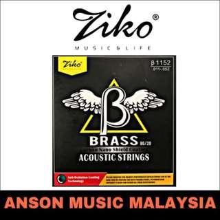 Ziko β1152 Brass 80/20 Coating Acoustic Strings, .011-.052