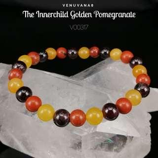 🚚 The Innerchild Golden Pomegranate Red Jasper, Yellow Aventurine & Garnet Crystal Bracelet (6mm Bead) - A bracelet specially designed with the intention to heal our Lower Chakras.