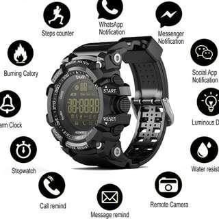 🚚 🆕🆒 Bluetooth Clock EX16 Smart Watch Notification Remote Control Pedometer Sport Watch IP67 Waterproof Men's Wristwatch