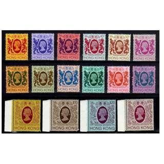 香港 1982年 (R34) 女皇伊利沙伯二世第四組(獅龍圖)通用郵票16全新票無背貼