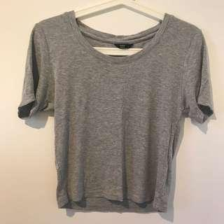 Factorie Grey Ribbed Top