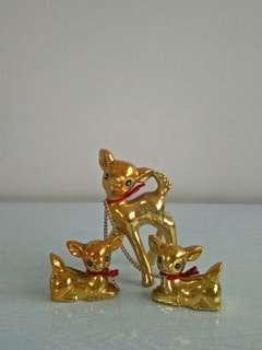 Gold porcelain japan deer 3pcs perfect $15