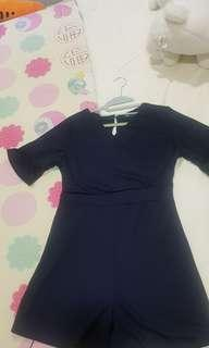 Brand new navy blue romper with bell sleeve