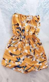 Yellow floral tube romper