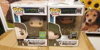 Funko pop the arrow unmasked sdcc  and malcolm merlyn