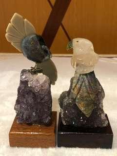 巴西原礦雕刻一對鳥型配紫晶簇附木底座擺件(*組合優惠)