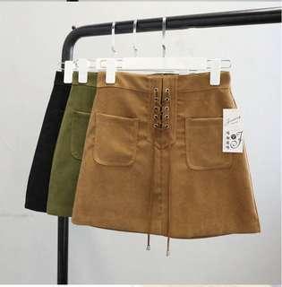 Lace-up mini skirt