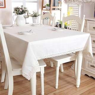 🚚 White Laced Edge Lace Table Cloth