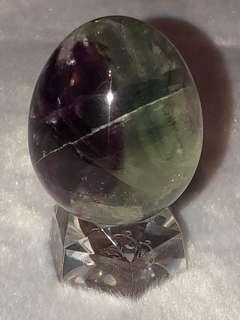 瑩石原礦雕刻蛋🥚型連透座擺件(*快閃價)