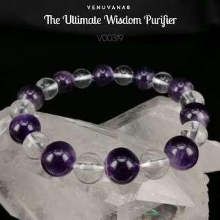 🚚 The Ultimate Wisdom Purifier Amethyst & Clear Quartz Crystal Bracelet (8&10mm Bead) - A bracelet specially designed with the intention to heal our Upper Chakras.