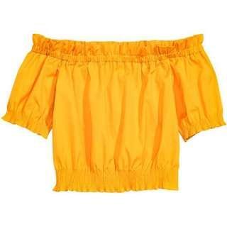 [BN] H&M Cute Yellow Off Shoulder Top
