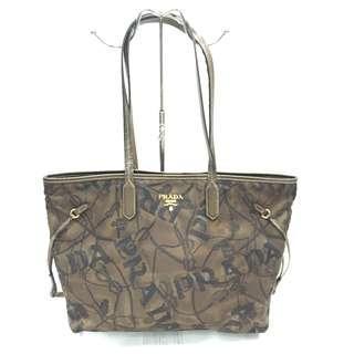 Prada Bronze Printed Tessuto Nylon Tote Bag