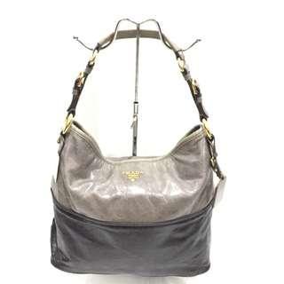Prada Grey and Black Leather Hobo Bag