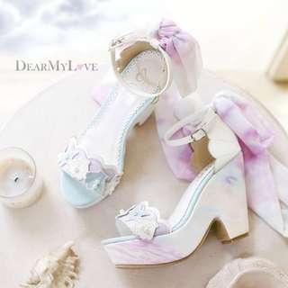 全新 日系夢展望 海洋系列貝殼 甜美絲帶 高跟涼鞋