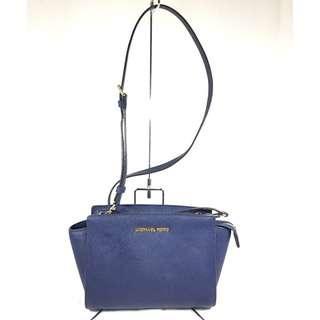 Michael Kors Navy Blue Saffiano Leather Selma Sling Bag